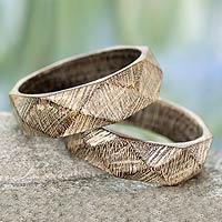 Wood bangle bracelets, 'Vintage Forest' (pair)
