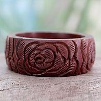 Wood bangle bracelet, 'Brown Rose Blossom'