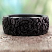 Wood bangle bracelet, 'Black Rose Blossom'