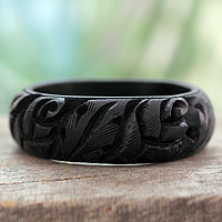 Wood bangle bracelet, 'Black Rose Garland'