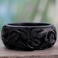 Wood bangle bracelet, 'Fragrant Flowers'