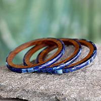Bone and wood bangle bracelets, 'Blue Symphony' (set of 3)