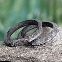 Wood bangle bracelet, 'Forest Whisper' (pair)