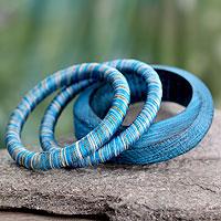 Wood bangle bracelets, 'Sky over Sikkim' (set of 3)