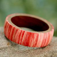 Bone and wood bangle bracelet, 'Rose Harmony'