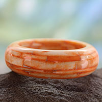 Bone bangle bracelet, 'Delhi Sunrise'