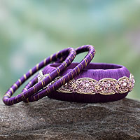 Handcrafted bangle bracelets, 'Royal Purple' (set of 3)
