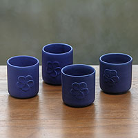 Ceramic cups, 'Blue Frangipani' (set of 4)