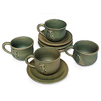 Ceramic teacups, 'Gecko and Co.' (set for 4)