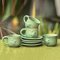 Ceramic cups and saucers, 'Turtle Action' (set for 4)