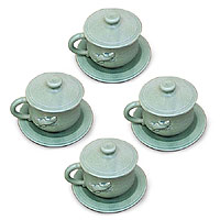 Ceramic cups and saucers, 'Green Geckos' (set for 4)