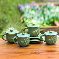 Ceramic cups and saucers, 'Dragonfly Myths' (set for 4)