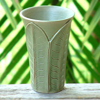 Ceramic vase, 'Forest Leaves'