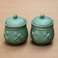 Ceramic soup cups, 'Siamese Dragonfly' (pair)