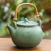 Ceramic teapot, 'Frog Song'