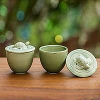 Ceramic salt and pepper cups, 'Swimming Turtles'