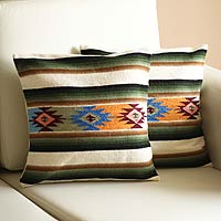 Wool cushion covers, 'Solar Enchantment' (pair)