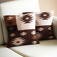 Alpaca cushion covers, 'Starlight on Earth' (pair)