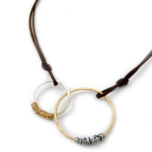 Interlocking Eternity Circles Necklace on Leather