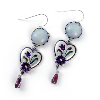 Vintage Inspired Iris Heart Earrings