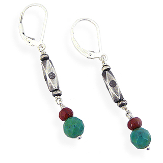 Turquoise, Red Jasper, and Sterling Silver Earrings