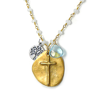 Golden Cross and Moonstone Adjustable 18k Gold-Filled Necklace