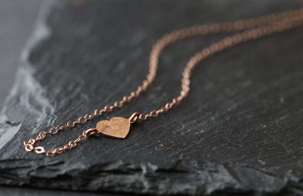 Rose Gold Necklace Heart by Alexis Russell