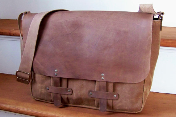 Waxed Canvas Messenger Bag by Katie Faragher