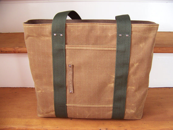 Waxed Canvas Tote Bag by Katie Faragher