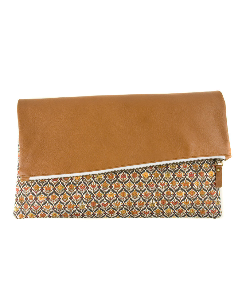 Figure Fabric and Leather Clutch Handbag by Modernaked