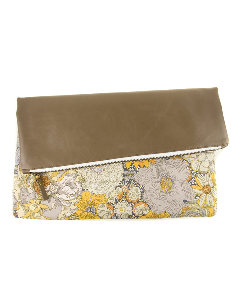 Sunflower Clutch in Leather and Farbric by Modernaked