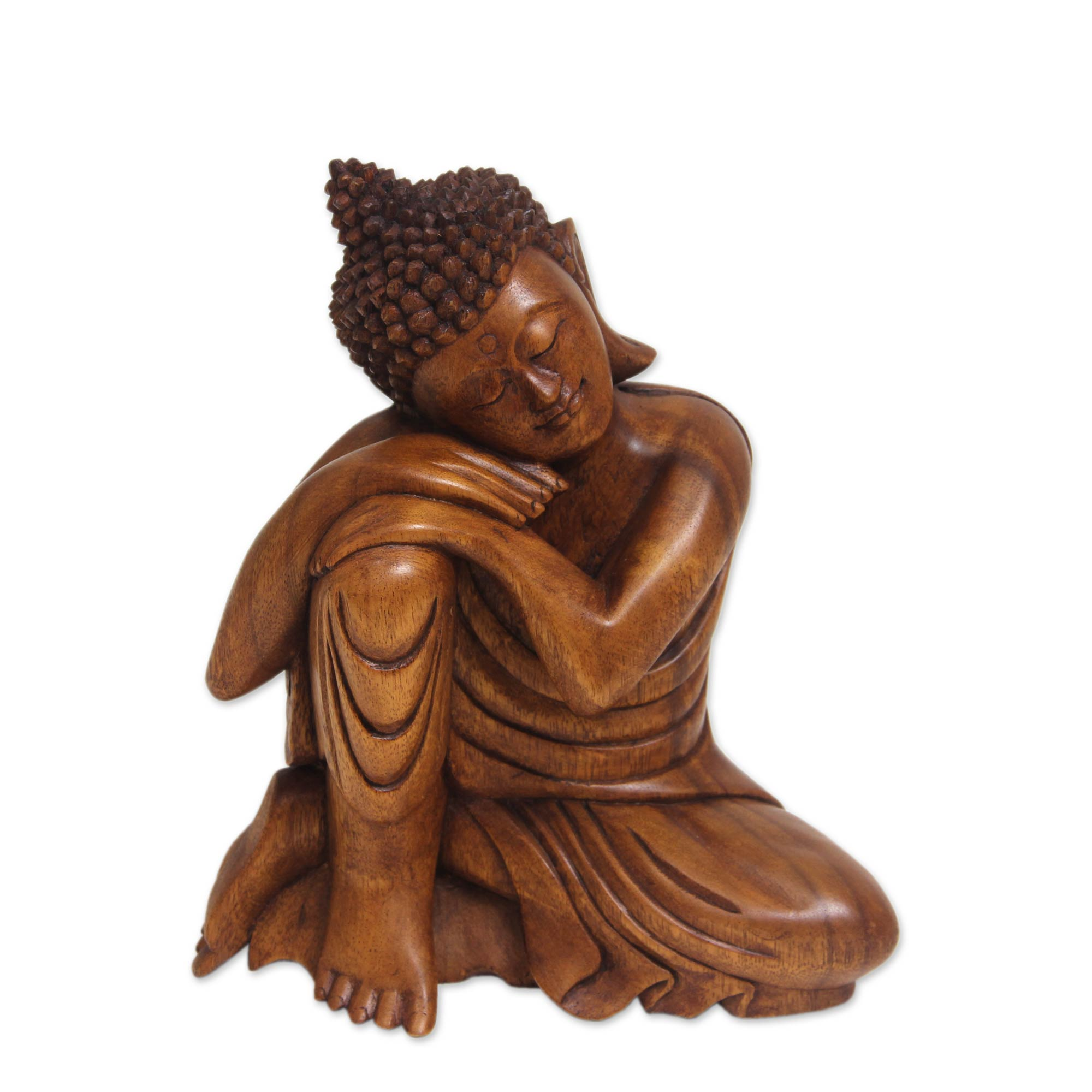 Balinese Hand Carved Wood Buddha Statuette, Relaxing Buddha