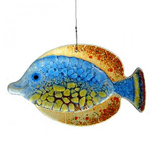 Blue-Orange Tropical Fish Fused Glass Suncatcher