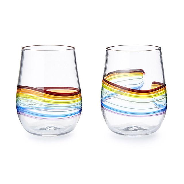 Rainbow Stemless Wine Glass by Frost Glass