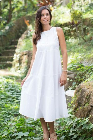 Cotton Dress from Bali, 'Cool White'