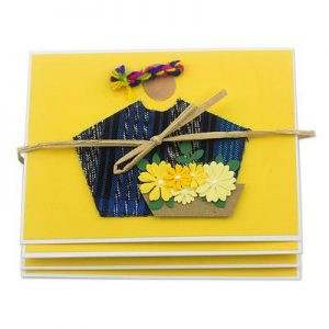 4 Recycled Fabric Greeting Cards, 'Atitlan Florist'