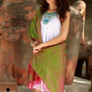 Varanasi silk shawl, 'Apple Orchard'