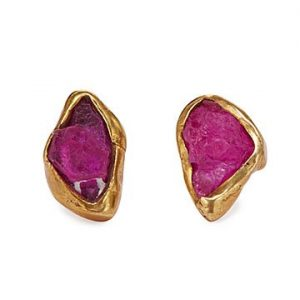 Emilie Shapiro Raw Ruby Stud Earrings