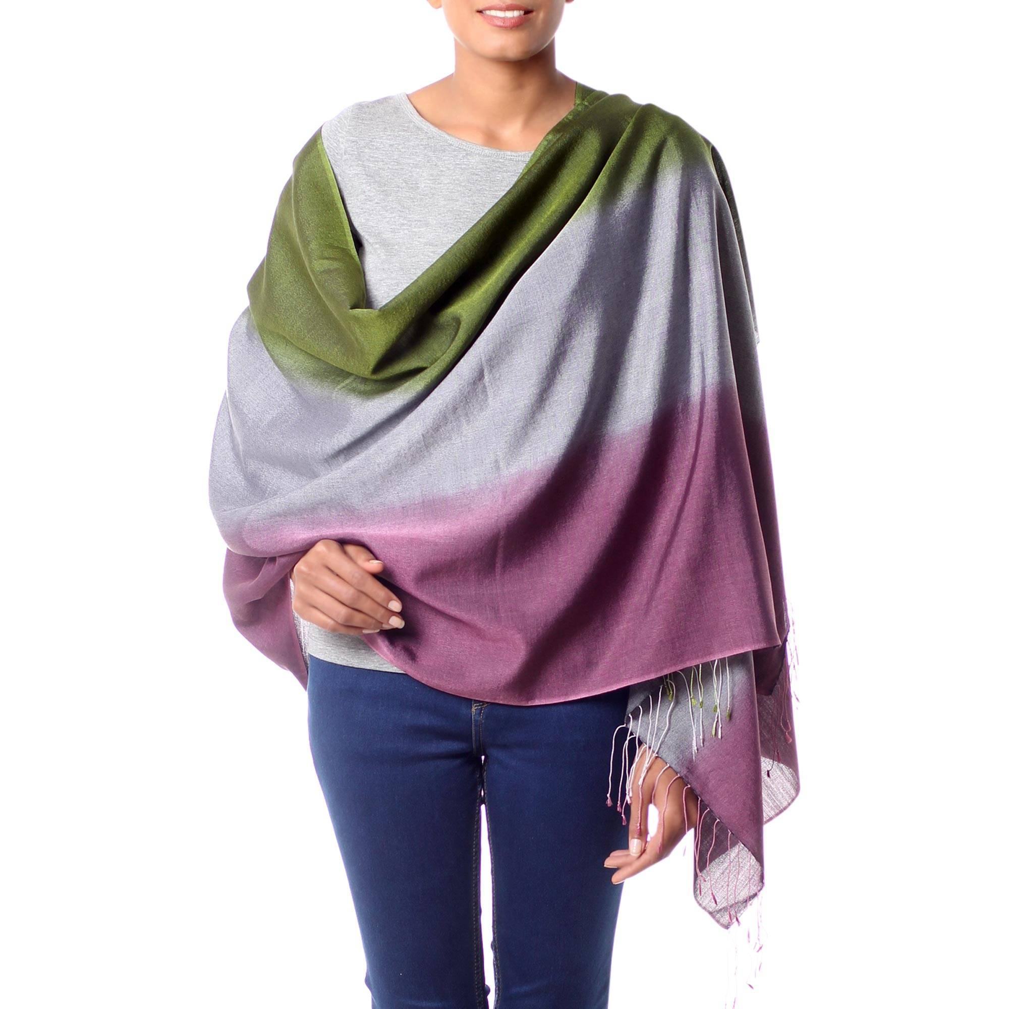 Silk and wool shawl, 'Prism'