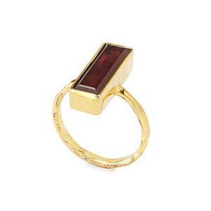 Garnet and Gold Vermeil Ring