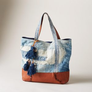 Cotton and Leather Handcrafted Tote Bag