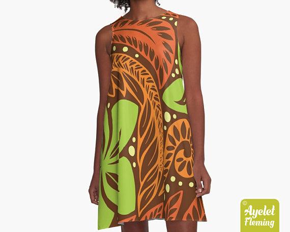 Tribal Polynesian Tiki Tropical Dress