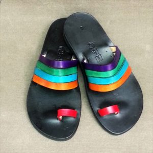 Colorful Leather Thong Sandals