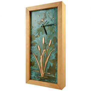 Cherry Wood and Copper Dragonfly Clock