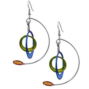 Kinetic Sculpture Inspired Earrings: Multicolor Moderist Mobile